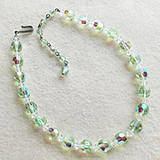Gorgeous GREEN AURORA CRYSTAL Vintage Estate Necklace