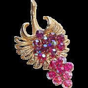 Fabulous Purple & Pink Aurora Crystal Dangle Vintage Estate Pendant Brooch