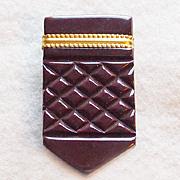 Gorgeous CARVED BAKELITE Vintage Estate Dress Clip Brooch