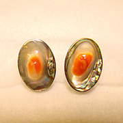 Gorgeous STERLING & BLISTER SHELL Vintage Estate Earrings