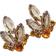 Gorgeous FAWN & AMBER RHINESTONE Open Backed Vintage Estate Clip Earrings