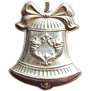 Gorgeous Reed & Barton Sterling Christmas Bell Medallion Ornament