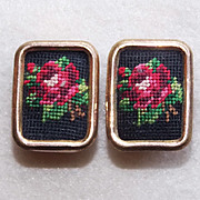 Austria Petit Point Signed Vintage Estate Earrings