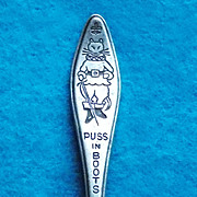 Antique Rogers Puss in Boots Signed Silver Plated Estate Cat Childs Baby Spoon