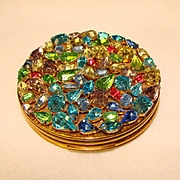 Fabulous EVANS Vintage Colored Rhinestone Compact
