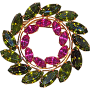 Gorgeous Green & Fuchsia Pink Rhinestone Vintage Estate Pin Brooch