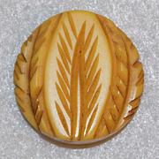 Fabulous Carved Bakelite Amber Butterscotch Vintage Estate Button