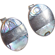 Signed MEXICAN STERLING Silver & Abalone Inlaid Vintage Estate Cufflinks