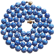 Fabulous Blue Art Glass Beads Long Vintage Estate Necklace