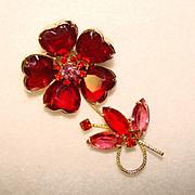 Fabulous Vintage RED & PINK Rhinestone Heart Flower Brooch