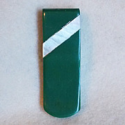 Gorgeous Green Early Plastic & Mother of Pearl Vintage Estate Dress Clip