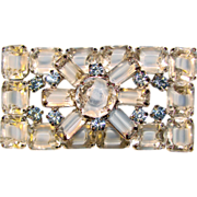 Fabulous GIVRE GLASS Blue Emerald Cut Stones Brooch
