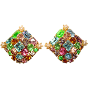 Fabulous Vintage COLOR MIX Rhinestone Clip Earrings