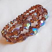 Fabulous BROWN AURORA CRYSTAL Vintage Estate Wrap Bracelet