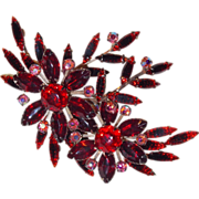 Fabulous RED RHINESTONE & Pink Aurora HUGE Large Vintage Estate Pin Brooch