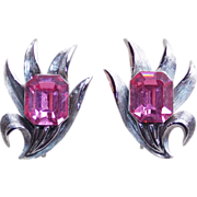 Fabulous TRIFARI Signed Emerald Cut PINK RHINESTONE Vintage Estate Clip Earrings