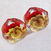 Awesome PANSY Reverse Carved Lucite Vintage Estate Earrings