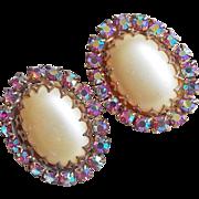 Gorgeous HUGE Faux Pearl & PINK AURORA Rhinestone Vintage Estate Earrings
