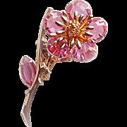Gorgeous PINK CRYSTAL Edge Set Open Back Flower Vintage Estate Pin Brooch