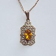 Tiny Art Deco Gold Filled Amber Stone Filigree Pendant Necklace