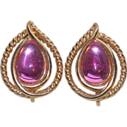 Gorgeous TRIFARI Signed Glowing Pink Stones Vintage 1980s Estate Earrings