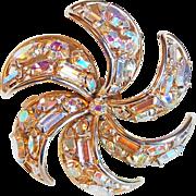 Fabulous AURORA RHINESTONE Pinwheel Shape Vintage Pin Brooch