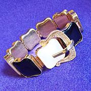 Fabulous Black & White Thermoset Plastic Wide Vintage Estate Bracelet