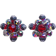 Fabulous VENDOME Signed Red & Vitrail Crystal Vintage Estate Clip Earrings
