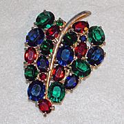 Gorgeous ART DECO Open Back Color Glass Vintage Estate DRESS CLIP Brooch