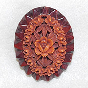 Gorgeous Coral CELLULOID & Carved Wood Vintage Estate Pin Brooch