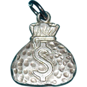 Sterling MONEY BAG Dollar Sign Vintage Estate Charm