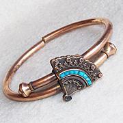Fabulous 1879 VICTORIAN Antique Estate FAN Turquoise Glass Bangle Bracelet Rare