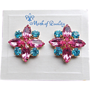 Gorgeous PINK & AQUA Blue Rhinestone Vintage Estate Clip Earrings