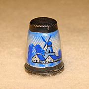Fabulous Vintage STERLING GUILLOCHE ENAMEL Scenic Windmill Estate Thimble
