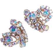 Fabulous AURORA RHINESTONE Vintage Estate Clip Earrings
