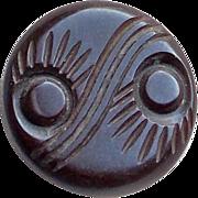 CARVED BAKELITE Peacock Eye Design Vintage Estate Button