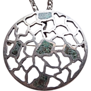 Fabulous TAXCO STERLING Mexican Mosaic Modernist Signed Pendant Necklace