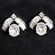 Fabulous PENNINO Signed Rhinestone Vintage Estate Clip Earrings