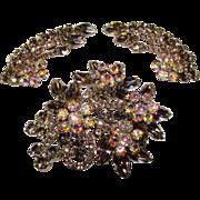 Fabulous D&E JULIANA Black Diamond & Aurora Rhinestone Vintage Estate Huge Pin Brooch