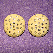 Awesome Vintage CELLULOID & RHINESTONE Estate Clip Earrings
