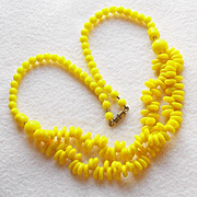 Intense YELLOW GLASS Beads Vintage Estate Necklace