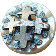 Antique Victorian Carved Mother of Pearl Cross Small Button