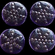 Four Matching Antique Black Lacy Glass Victorian Estate Button Set