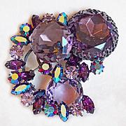 Fabulous REGENCY JEWELS Signed Huge Purple Rhinestone Pin Brooch