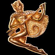 Fabulous & Rare 1940's Figural DEVIL Rhinestone Brooch