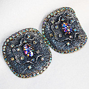 Fabulous MUSI Signed Foil Glass & Rhinestone Vintage Shoe Buckles