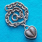Fabulous BARRY KIESELSTEIN CORD Signed Sterling HEART Vintage Estate Bracelet