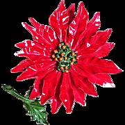 Awesome POINSETTIA Enamel Huge Flower Power 1960s Vintage Estate Pin Brooch
