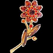 Fabulous Orange RHINESTONE FLOWER Figural Vintage Estate Pin Brooch