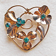 Signed BARCLAY 12K Gold Filled Retro 1940s Heart Vintage Estate Pin Brooch